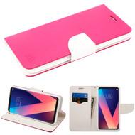 Diary Leather Wallet Case for LG V30 / V30+ - Hot Pink