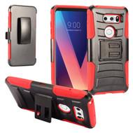 Advanced Armor Hybrid Kickstand Case with Holster for LG V30 / V30+ - Red