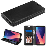 Book-Style Leather Folio Case for LG V30 / V30+ - Black