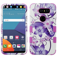 Military Grade Certified TUFF Image Hybrid Armor Case for LG V30 / V30+ - Purple Hibiscus Flower Romance