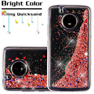 Quicksand Glitter Transparent Case for Motorola Moto E4 - Rose Gold