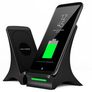 Dual Coil Qi Wireless Charger Charging Stand with Cooling Fan - Black