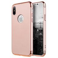 GripTech 3-Piece Chrome Frame Slim Case for iPhone X - Rose Gold