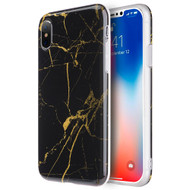 Marble IMD Soft TPU Case for iPhone X - Black Gold