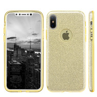 Full Glitter Hybrid Protective Case for iPhone X - Gold