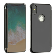 Electroplating Book-Style Case with Semi-Transparent Flip Cover for iPhone X - Black