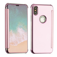 Electroplating Book-Style Case with Semi-Transparent Flip Cover for iPhone X - Rose Gold