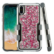 TUFF Vivid Mini Crystals Hybrid Armor Case for iPhone X - Hot Pink