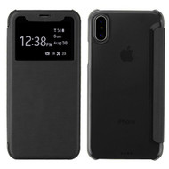 Book-Style Hybrid Flip Case with Window Display for iPhone X - Black
