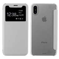 Book-Style Hybrid Flip Case with Window Display for iPhone X - White