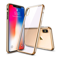 Skyfall Electroplating Clear Transparent TPU Soft Case for iPhone X - Gold