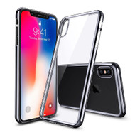 Skyfall Electroplating Clear Transparent TPU Soft Case for iPhone X - Grey