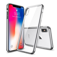 Skyfall Electroplating Clear Transparent TPU Soft Case for iPhone X - Silver