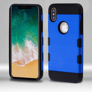 Military Grade Certified TUFF Trooper Dual Layer Hybrid Armor Case for iPhone X - Blue
