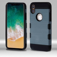 Military Grade Certified TUFF Trooper Dual Layer Hybrid Armor Case for iPhone X - Slate Blue