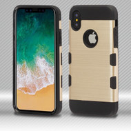 Military Grade Certified TUFF Trooper Dual Layer Hybrid Armor Case for iPhone X - Gold