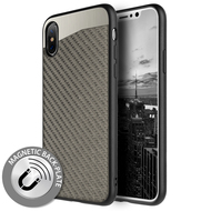 Carbon Metallic Luxury Fusion Case with Magnetic Back Plate for iPhone X - Grey
