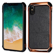 Electroplated Tough Anti-Shock Hybrid Case with Leather Backing for iPhone X - Black