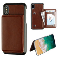Pocket Wallet Case with Card Stand for iPhone X - Brown