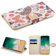 Luxury Bling Portfolio Leather Wallet Case for iPhone X - Butterfly Wonderland