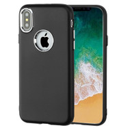 Premium TPU Case with Electroplating Accents for iPhone X - Black
