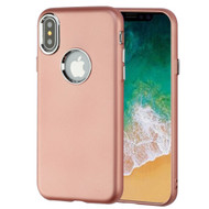 Premium TPU Case with Electroplating Accents for iPhone X - Rose Gold
