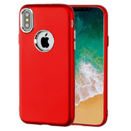 Premium TPU Case with Electroplating Accents for iPhone X - Red