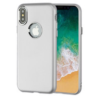 Premium TPU Case with Electroplating Accents for iPhone X - Silver