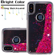 Quicksand Glitter Transparent Case for iPhone X - Hot Pink