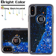 Quicksand Glitter Transparent Case for iPhone X - Blue