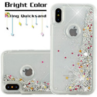 Quicksand Glitter Transparent Case for iPhone X - Silver
