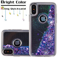 Quicksand Glitter Transparent Case for iPhone X - Purple