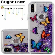 Quicksand Glitter Transparent Case for iPhone X - Butterfly Dancing