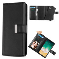 2-IN-1 Premium Tri-Fold Leather Wallet with Removable Magnetic Case for iPhone X - Black