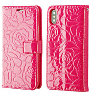 Embossed Rose Design Patent Leather Wallet Case for iPhone X - Hot Pink