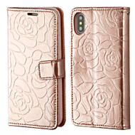 Embossed Rose Design Patent Leather Wallet Case for iPhone X - Rose Gold