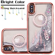 Electroplating Quicksand Glitter Transparent Case for iPhone X - Dreamcatcher Rose Gold
