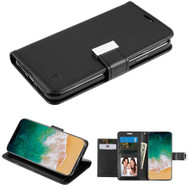 Essential Leather Wallet Stand Case for iPhone X - Black