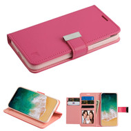 Essential Leather Wallet Stand Case for iPhone X - Hot Pink