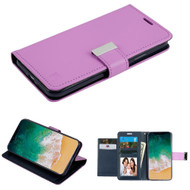 Essential Leather Wallet Stand Case for iPhone X - Purple