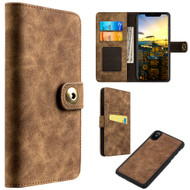 *SALE* Luxury Coach Lite Series Leather Wallet with Removable Magnetic Case for iPhone X - Brown
