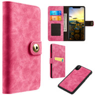 *Sale* Luxury Coach Lite Series Leather Wallet with Removable Magnetic Case for iPhone X - Hot Pink