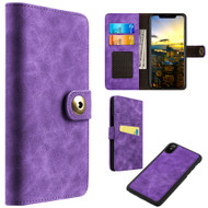 Luxury Coach Lite Series Leather Wallet with Removable Magnetic Case for iPhone X - Purple