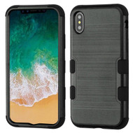 Military Grade Certified Brushed TUFF Hybrid Armor Case for iPhone X - Black