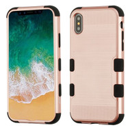 Military Grade Certified Brushed TUFF Hybrid Armor Case for iPhone X - Rose Gold