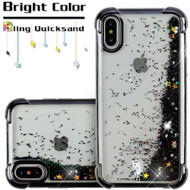 Confetti Quicksand Glitter Electroplating Transparent Case for iPhone X - Black