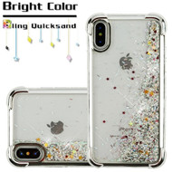 Confetti Quicksand Glitter Electroplating Transparent Case for iPhone X - Silver