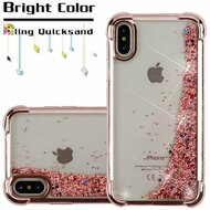 Confetti Quicksand Glitter Electroplating Transparent Case for iPhone X - Rose Gold
