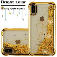 Confetti Quicksand Glitter Electroplating Transparent Case for iPhone X - Gold