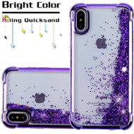 Confetti Quicksand Glitter Electroplating Transparent Case for iPhone X - Purple
